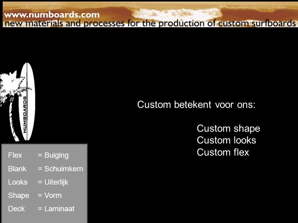 flex patterns Flex= Buiging Blank= Schuimkern Looks= Uiterlijk Shape= Vorm Deck= Laminaat Custom betekent voor ons: Custom shape Custom looks Custom flex