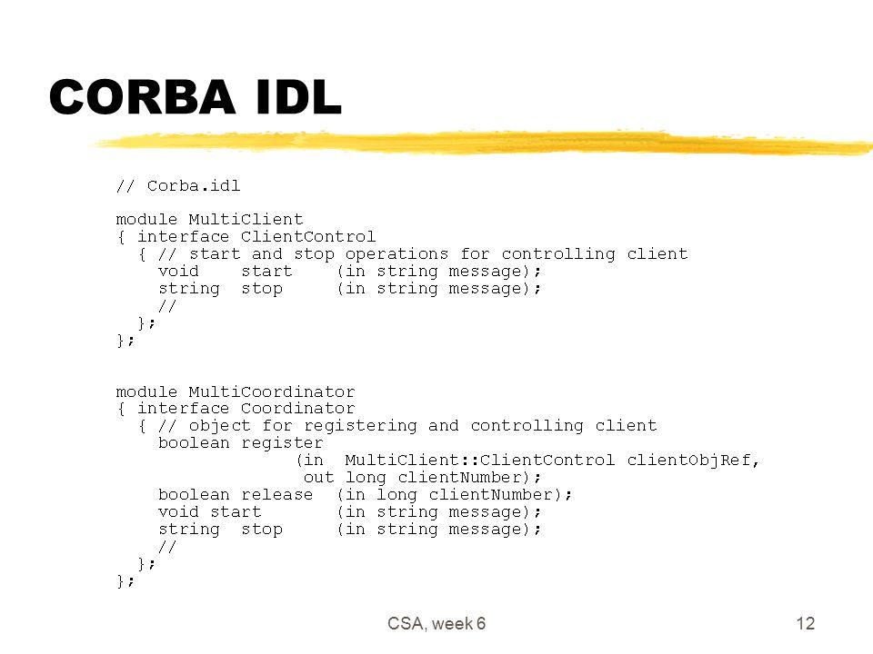CSA, week 612 CORBA IDL