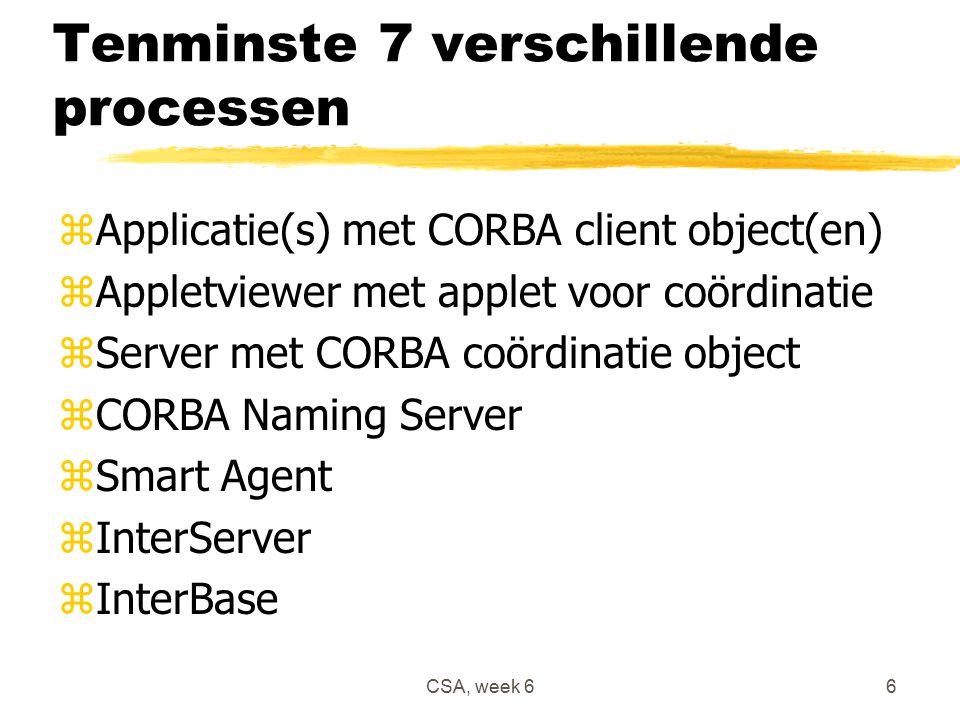 CSA, week 66 Tenminste 7 verschillende processen zApplicatie(s) met CORBA client object(en) zAppletviewer met applet voor coördinatie zServer met CORBA coördinatie object zCORBA Naming Server zSmart Agent zInterServer zInterBase