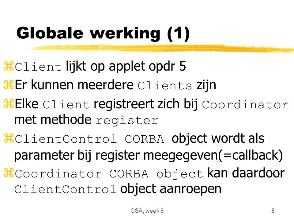 CSA, week 68 Globale werking (1)  Client lijkt op applet opdr 5  Er kunnen meerdere Clients zijn  Elke Client registreert zich bij Coordinator met methode register  ClientControl CORBA object wordt als parameter bij register meegegeven(=callback)  Coordinator CORBA object kan daardoor ClientControl object aanroepen