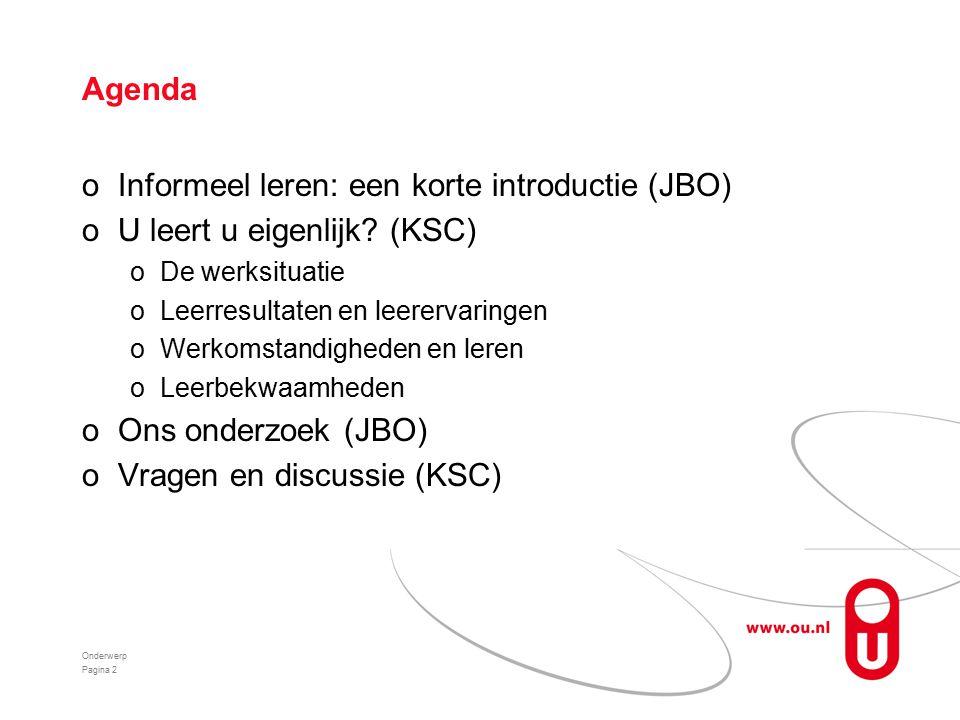 Agenda oInformeel leren: een korte introductie (JBO) oU leert u eigenlijk.