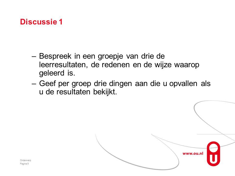 Discussie 1 –Bespreek in een groepje van drie de leerresultaten, de redenen en de wijze waarop geleerd is.