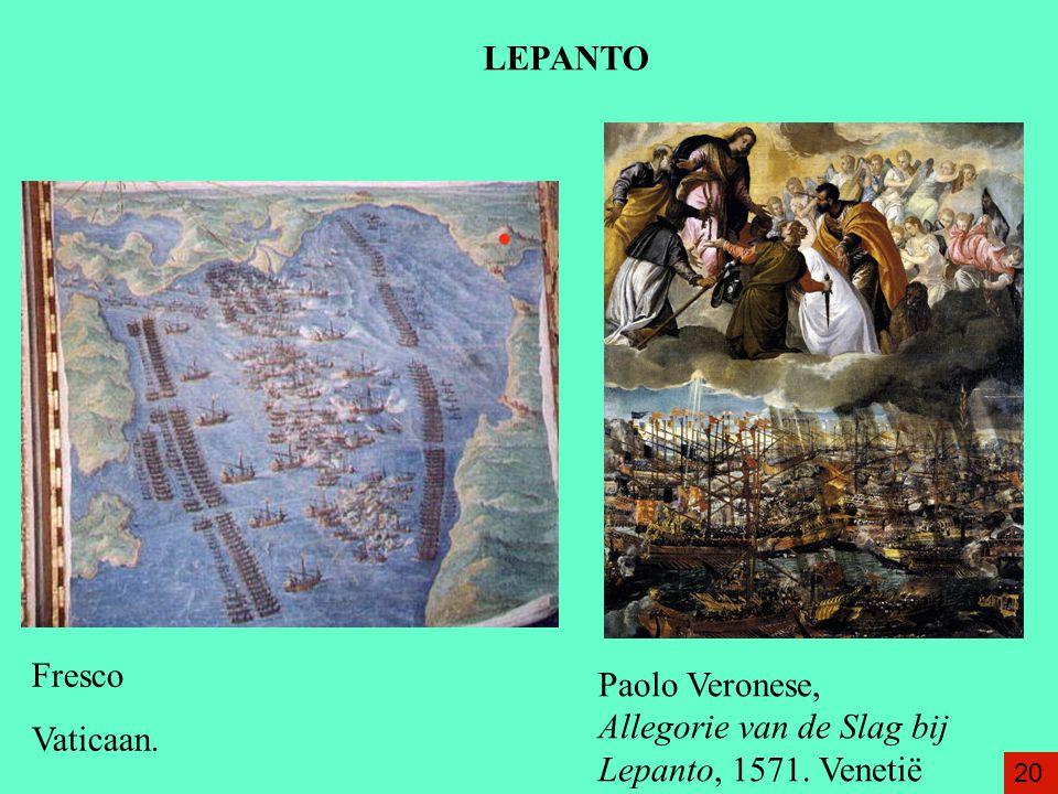 Paolo Veronese, Allegorie van de Slag bij Lepanto, 1571. Venetië Fresco Vaticaan. 20 LEPANTO