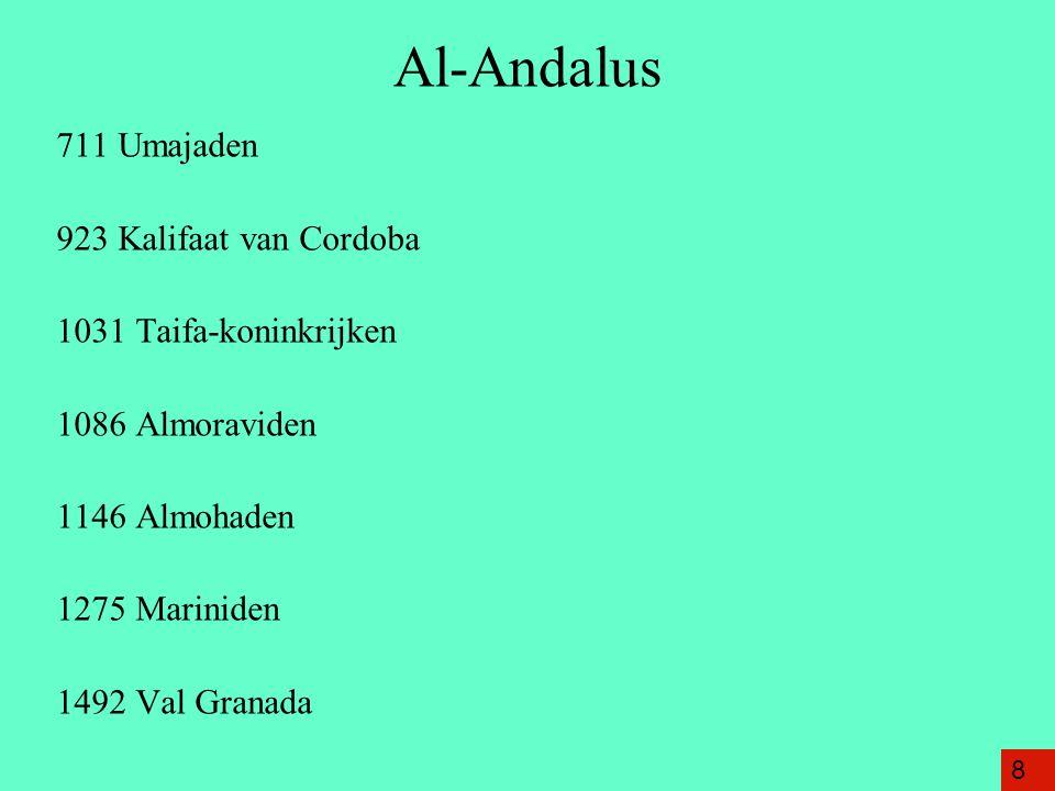Al-Andalus 711 Umajaden 923 Kalifaat van Cordoba 1031 Taifa-koninkrijken 1086 Almoraviden 1146 Almohaden 1275 Mariniden 1492 Val Granada 8