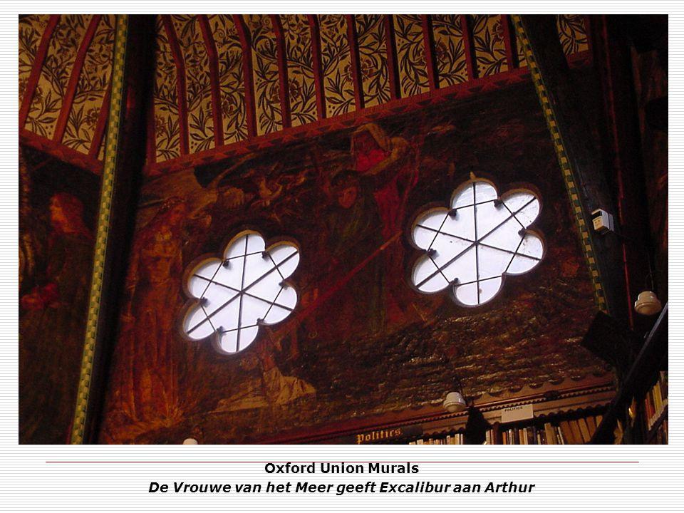 Oxford Union Murals De Vrouwe van het Meer geeft Excalibur aan Arthur