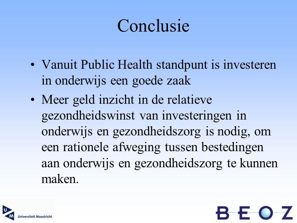 Conclusie Vanuit Public Health standpunt is investeren in onderwijs een goede zaak Meer geld inzicht in de relatieve gezondheidswinst van investeringen in onderwijs en gezondheidszorg is nodig, om een rationele afweging tussen bestedingen aan onderwijs en gezondheidszorg te kunnen maken.