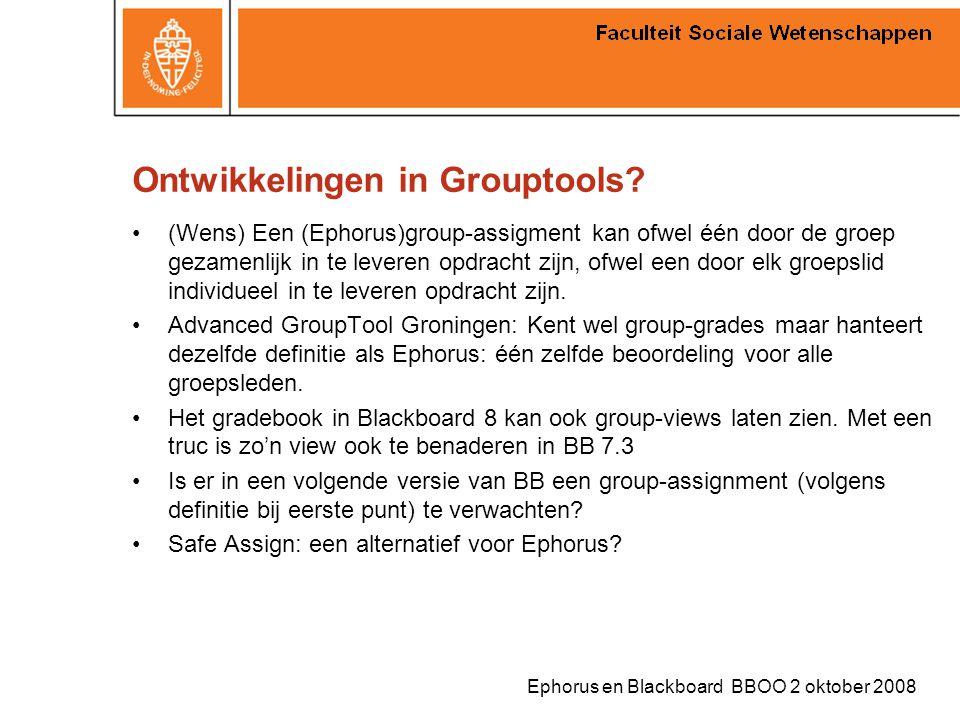 Ephorus en Blackboard BBOO 2 oktober 2008 Ontwikkelingen in Grouptools? (Wens) Een (Ephorus)group-assigment kan ofwel één door de groep gezamenlijk in