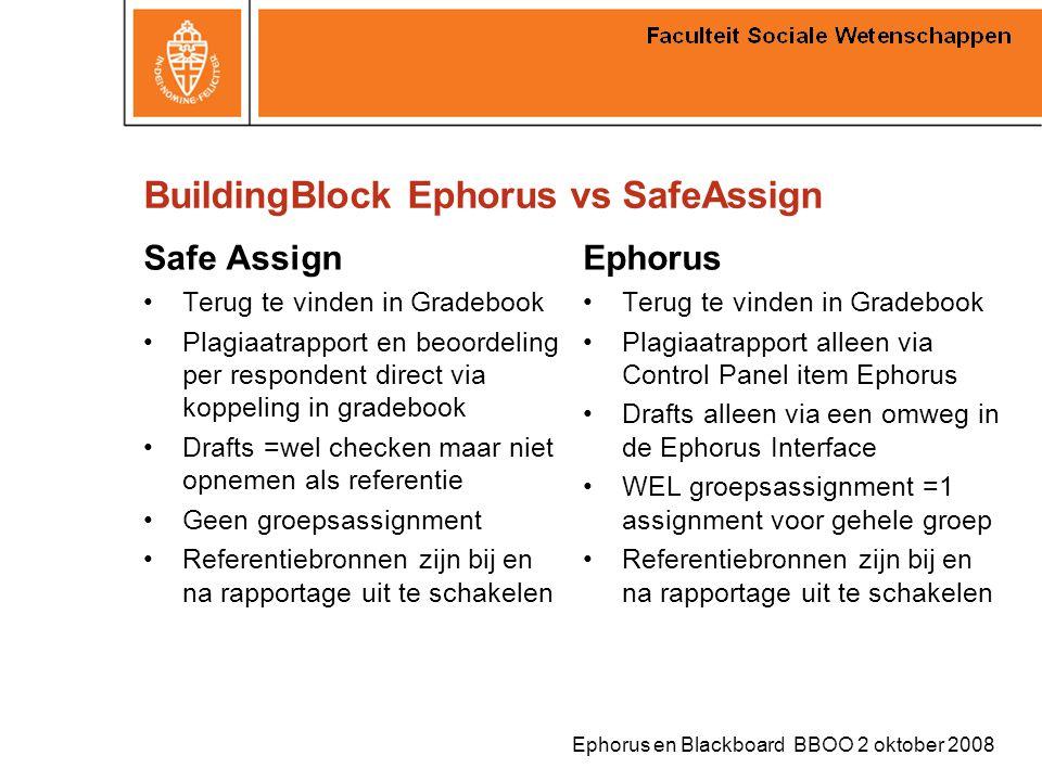 Ephorus en Blackboard BBOO 2 oktober 2008 BuildingBlock Ephorus vs SafeAssign Safe Assign Terug te vinden in Gradebook Plagiaatrapport en beoordeling