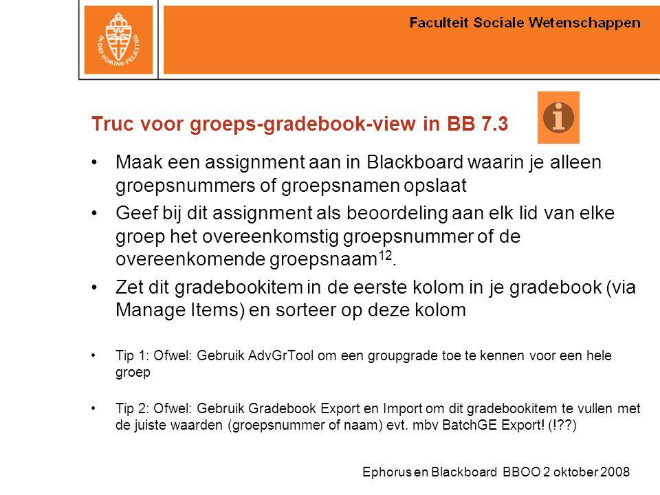Ephorus en Blackboard BBOO 2 oktober 2008 Truc voor groeps-gradebook-view in BB 7.3 Maak een assignment aan in Blackboard waarin je alleen groepsnumme