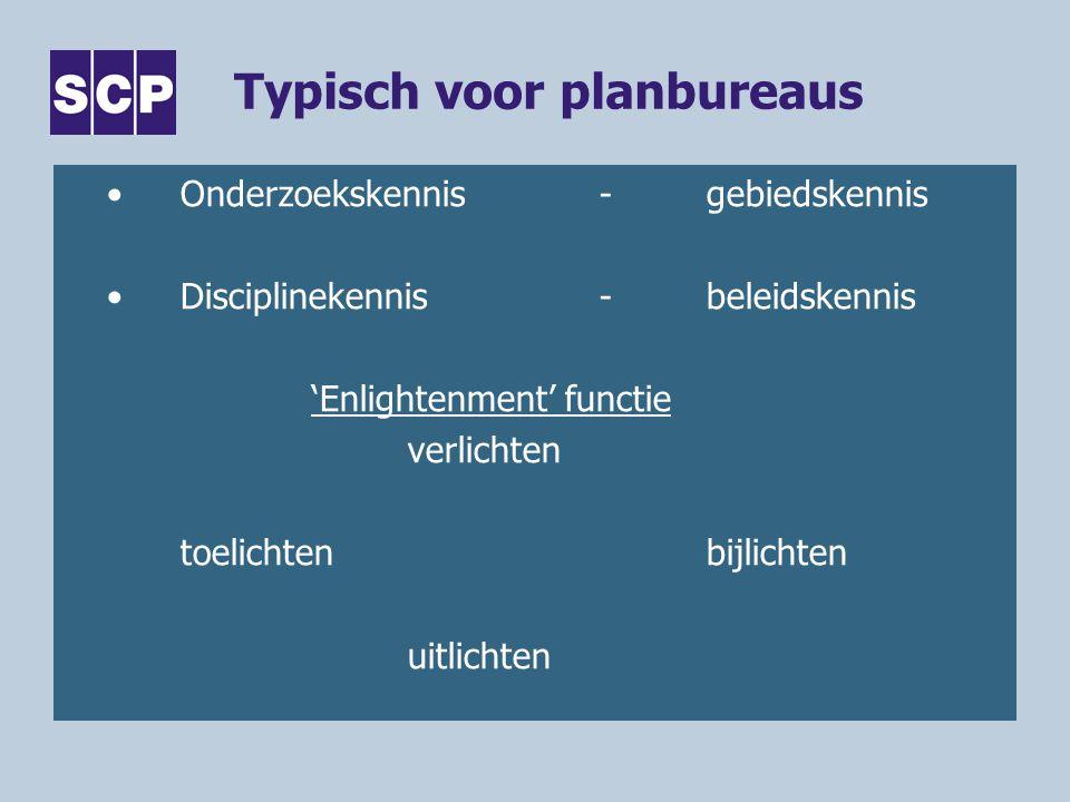 Typisch voor planbureaus Onderzoekskennis-gebiedskennis Disciplinekennis-beleidskennis 'Enlightenment' functie verlichten toelichtenbijlichten uitlichten