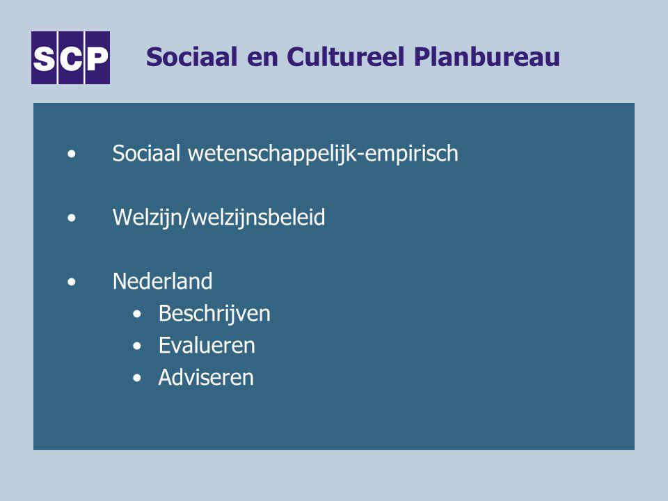 Sociaal en Cultureel Planbureau Sociaal wetenschappelijk-empirisch Welzijn/welzijnsbeleid Nederland Beschrijven Evalueren Adviseren