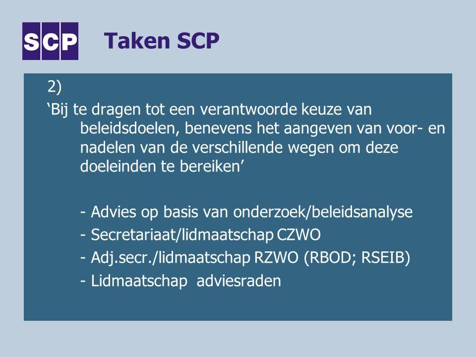 Taken SCP 2) 'Bij te dragen tot een verantwoorde keuze van beleidsdoelen, benevens het aangeven van voor- en nadelen van de verschillende wegen om deze doeleinden te bereiken' - Advies op basis van onderzoek/beleidsanalyse - Secretariaat/lidmaatschap CZWO - Adj.secr./lidmaatschap RZWO (RBOD; RSEIB) - Lidmaatschap adviesraden