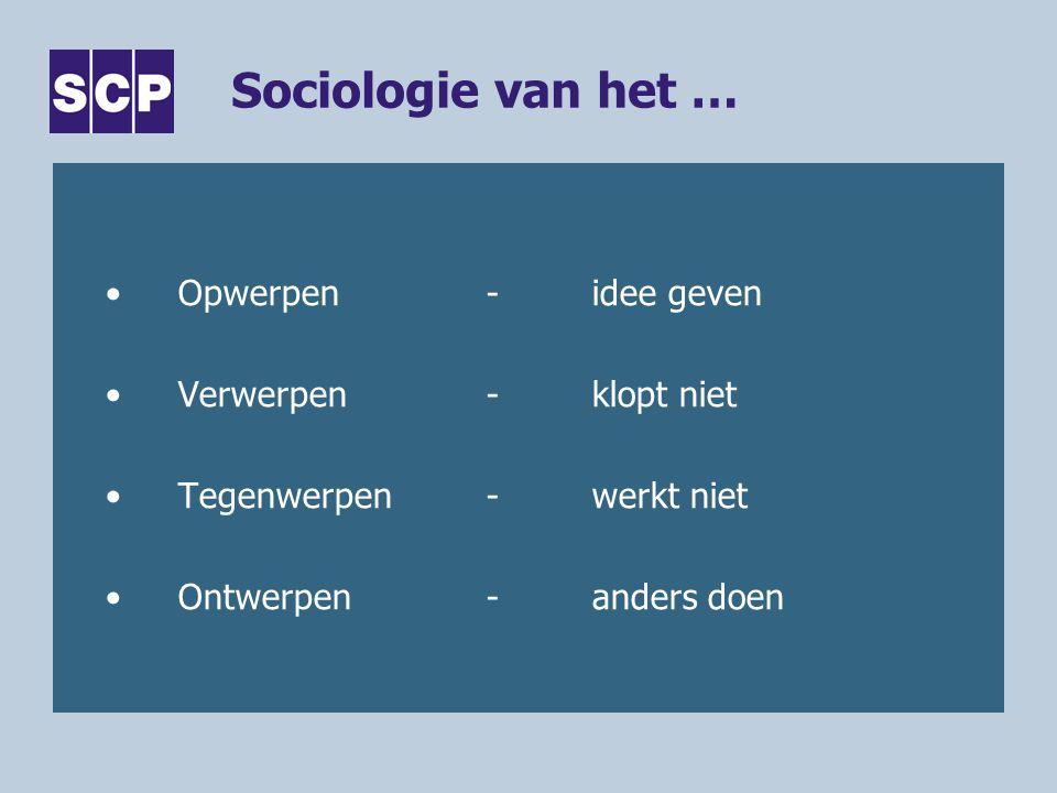 Sociologie van het … Opwerpen-idee geven Verwerpen-klopt niet Tegenwerpen-werkt niet Ontwerpen-anders doen