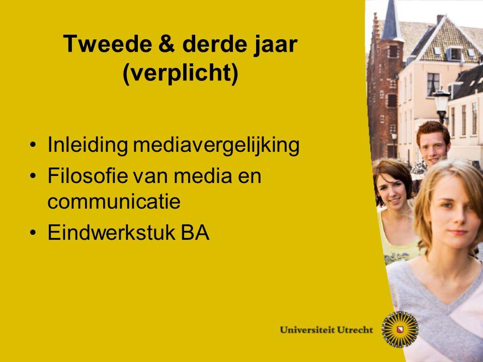 Tweede & derde jaar (verplicht) Inleiding mediavergelijking Filosofie van media en communicatie Eindwerkstuk BA