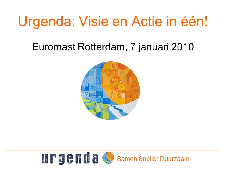 Urgenda: Visie en Actie in één! Euromast Rotterdam, 7 januari 2010 Samen Sneller Duurzaam
