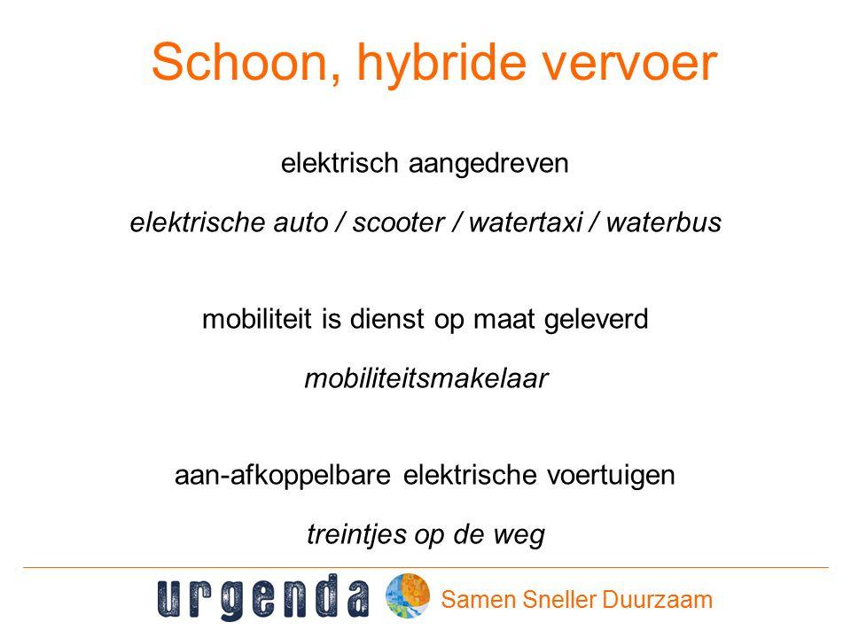 Samen Sneller Duurzaam Schoon, hybride vervoer elektrisch aangedreven elektrische auto / scooter / watertaxi / waterbus mobiliteit is dienst op maat geleverd mobiliteitsmakelaar aan-afkoppelbare elektrische voertuigen treintjes op de weg