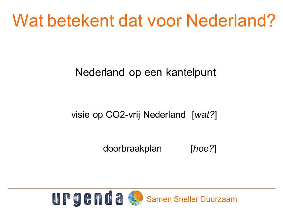 Samen Sneller Duurzaam Wat betekent dat voor Nederland.