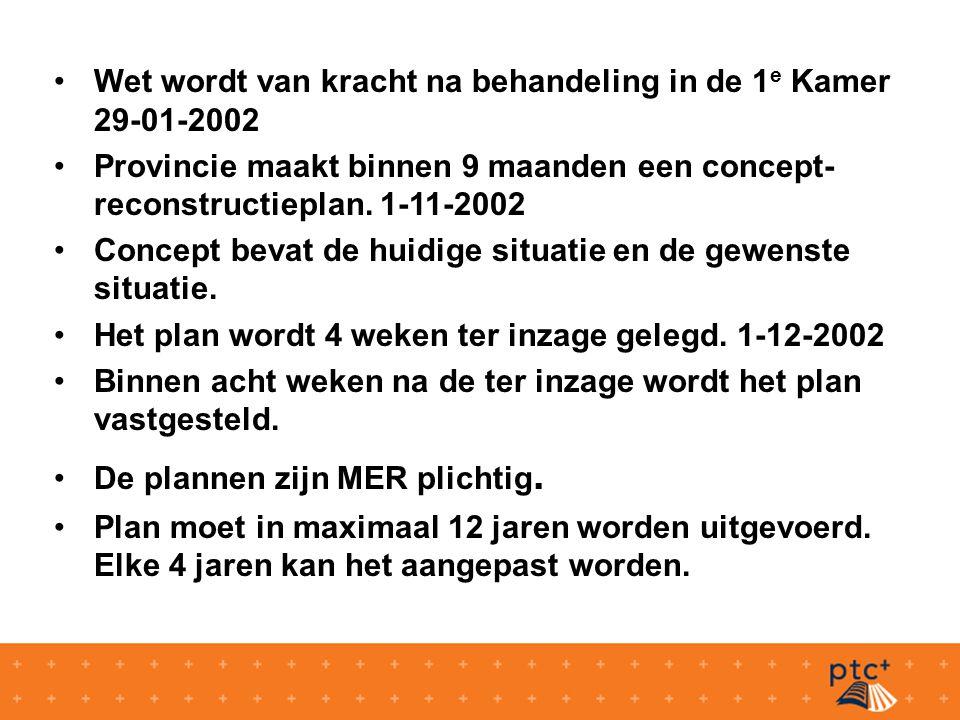 Wet wordt van kracht na behandeling in de 1 e Kamer 29-01-2002 Provincie maakt binnen 9 maanden een concept- reconstructieplan.