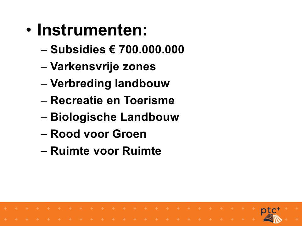 Instrumenten: –Subsidies € 700.000.000 –Varkensvrije zones –Verbreding landbouw –Recreatie en Toerisme –Biologische Landbouw –Rood voor Groen –Ruimte voor Ruimte