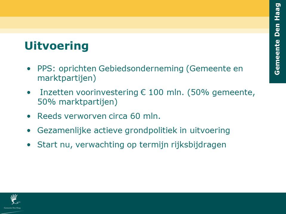 Gemeente Den Haag Uitvoering PPS: oprichten Gebiedsonderneming (Gemeente en marktpartijen) Inzetten voorinvestering € 100 mln. (50% gemeente, 50% mark