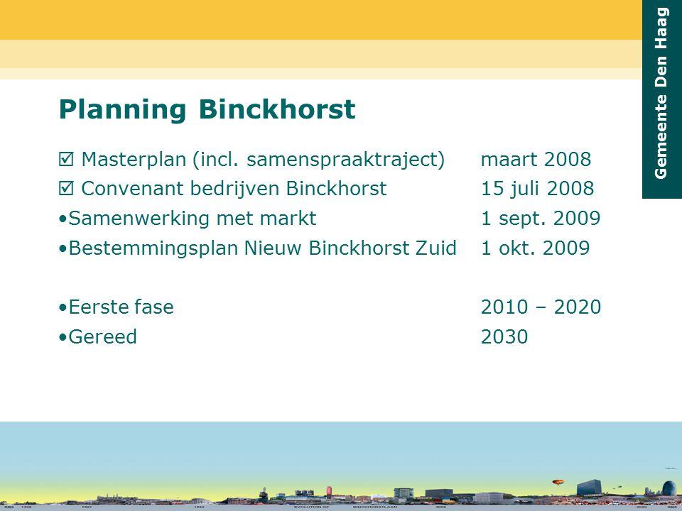 Gemeente Den Haag Planning Binckhorst  Masterplan (incl. samenspraaktraject) maart 2008  Convenant bedrijven Binckhorst 15 juli 2008 Samenwerking me