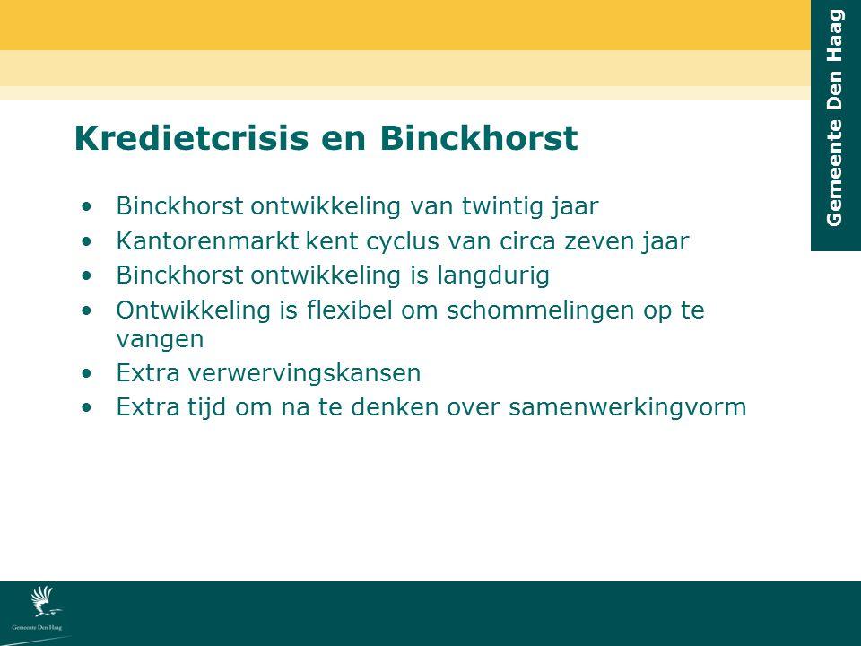 Gemeente Den Haag Kredietcrisis en Binckhorst Binckhorst ontwikkeling van twintig jaar Kantorenmarkt kent cyclus van circa zeven jaar Binckhorst ontwi