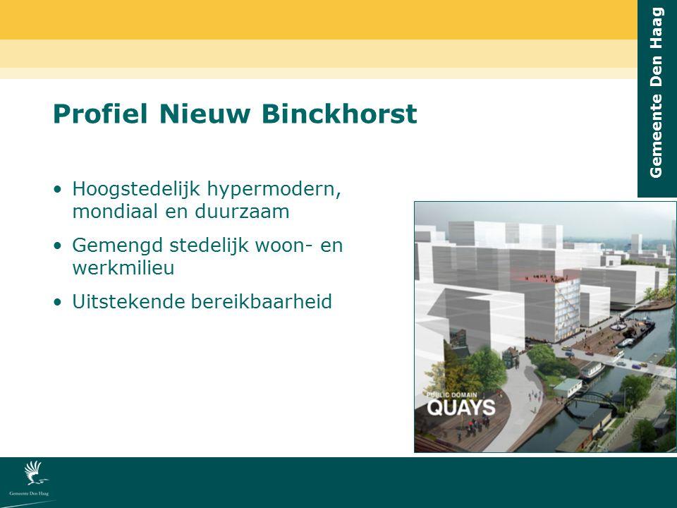Gemeente Den Haag Hoogstedelijk hypermodern, mondiaal en duurzaam Gemengd stedelijk woon- en werkmilieu Uitstekende bereikbaarheid Profiel Nieuw Binck
