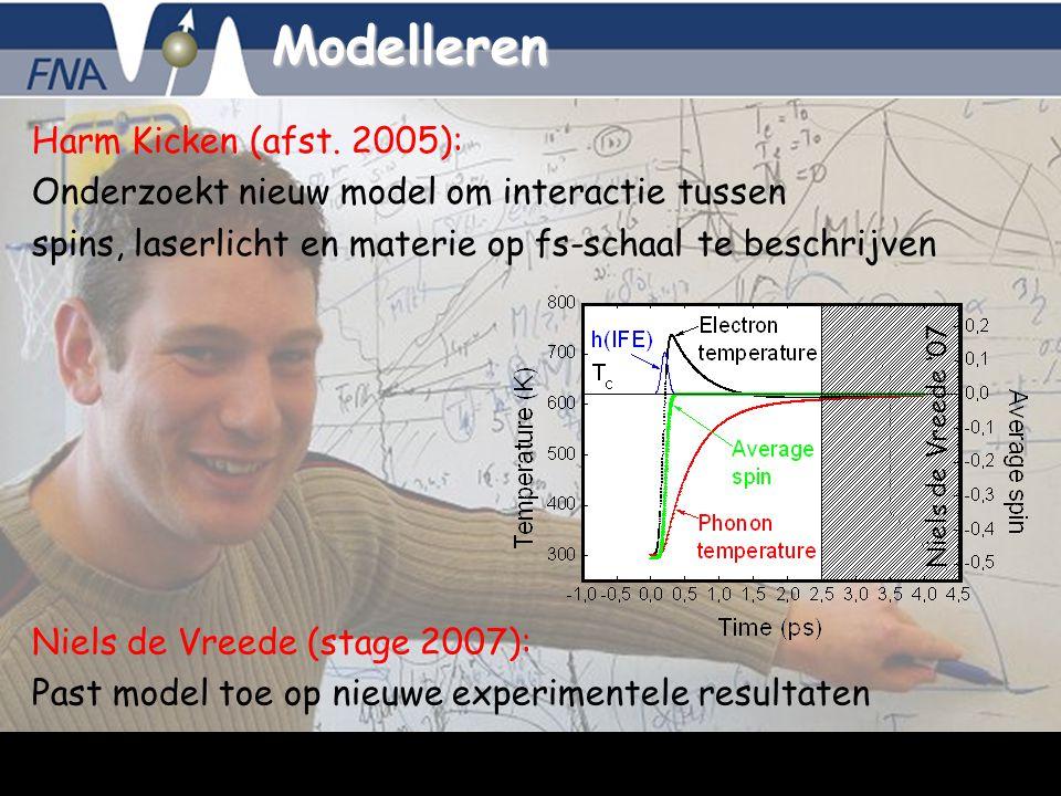 Bert Koopmans, 5-10-2007 - 11 Modelleren Harm Kicken (afst. 2005): Onderzoekt nieuw model om interactie tussen spins, laserlicht en materie op fs-scha