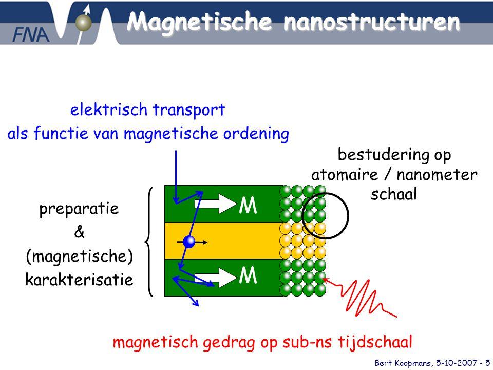 Bert Koopmans, 5-10-2007 - 5 elektrisch transport als functie van magnetische ordening M M preparatie & (magnetische) karakterisatie bestudering op atomaire / nanometer schaal magnetisch gedrag op sub-ns tijdschaal Magnetische nanostructuren