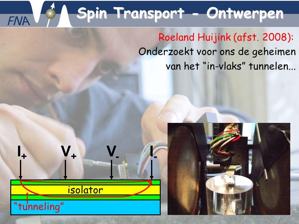 Bert Koopmans, 5-10-2007 - 8 Spin Transport - Ontwerpen V+V+ V-V- isolator I+I+ I-I- Roeland Huijink (afst. 2008): Onderzoekt voor ons de geheimen van