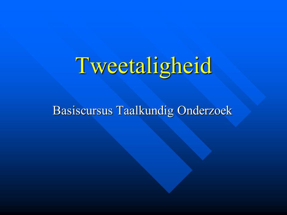 Tweetaligheid Basiscursus Taalkundig Onderzoek