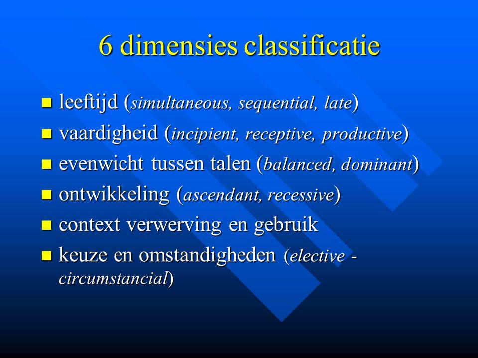 6 dimensies classificatie leeftijd ( simultaneous, sequential, late ) leeftijd ( simultaneous, sequential, late ) vaardigheid ( incipient, receptive,