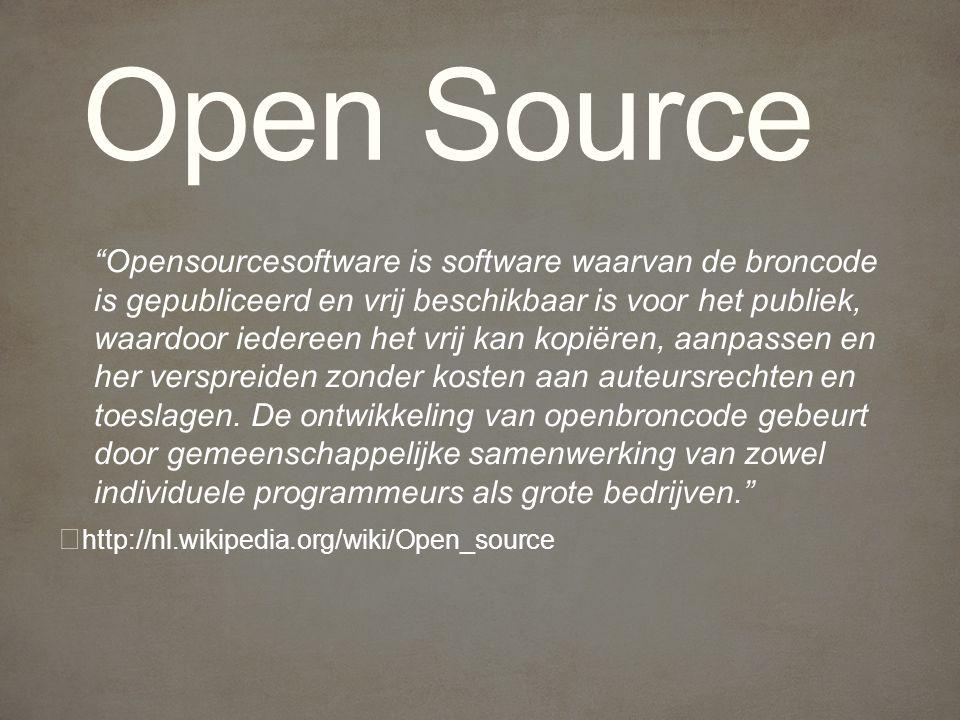 Opensourcesoftware is software waarvan de broncode is gepubliceerd en vrij beschikbaar is voor het publiek, waardoor iedereen het vrij kan kopiëren, aanpassen en her verspreiden zonder kosten aan auteursrechten en toeslagen.