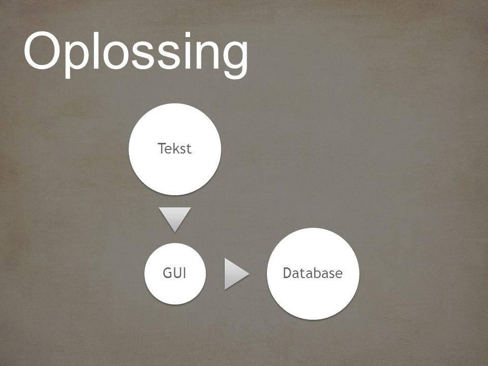 Tekst GUI Database
