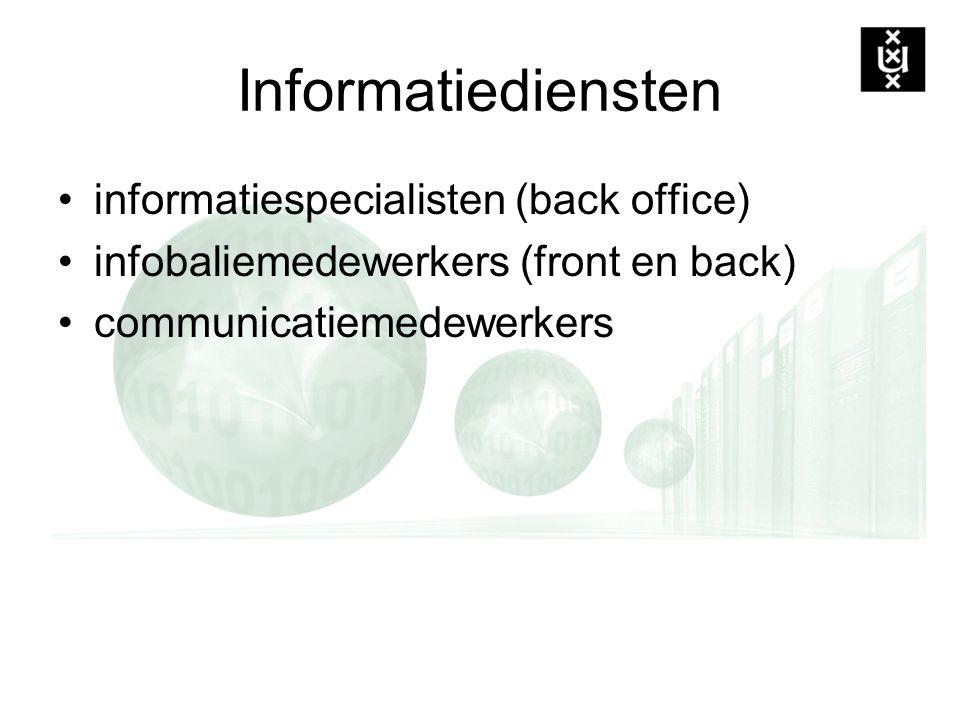 Informatiediensten informatiespecialisten (back office) infobaliemedewerkers (front en back) communicatiemedewerkers