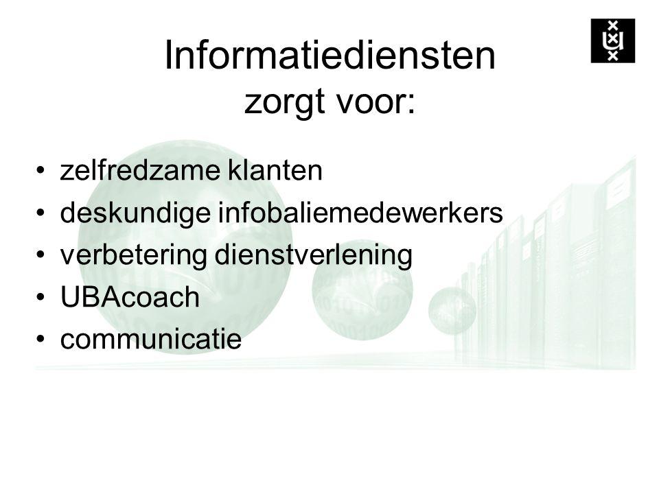 Informatiediensten zorgt voor: zelfredzame klanten deskundige infobaliemedewerkers verbetering dienstverlening UBAcoach communicatie