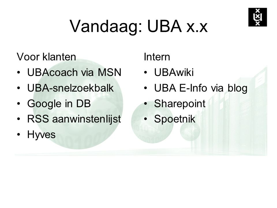 Vandaag: UBA x.x Voor klanten UBAcoach via MSN UBA-snelzoekbalk Google in DB RSS aanwinstenlijst Hyves Intern UBAwiki UBA E-Info via blog Sharepoint S
