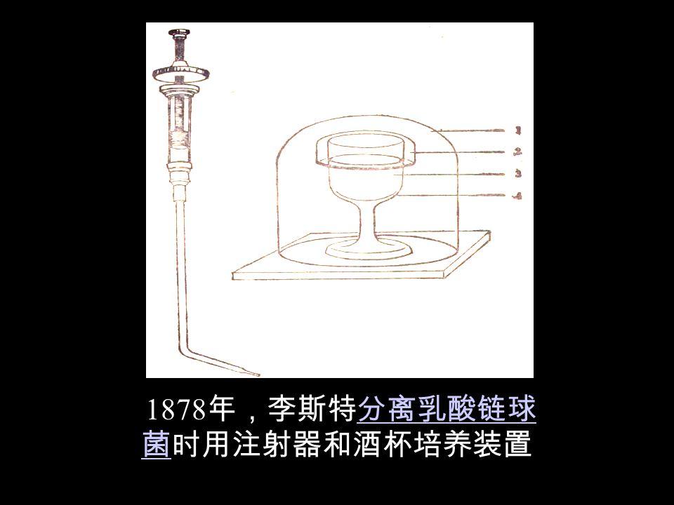 (Joseph Lister,1827~1912) 首创用石 炭酸喷洒手术室和煮沸手术用具以 防术后感染,为防腐、消毒,以及 无菌操作奠定了基础。消毒