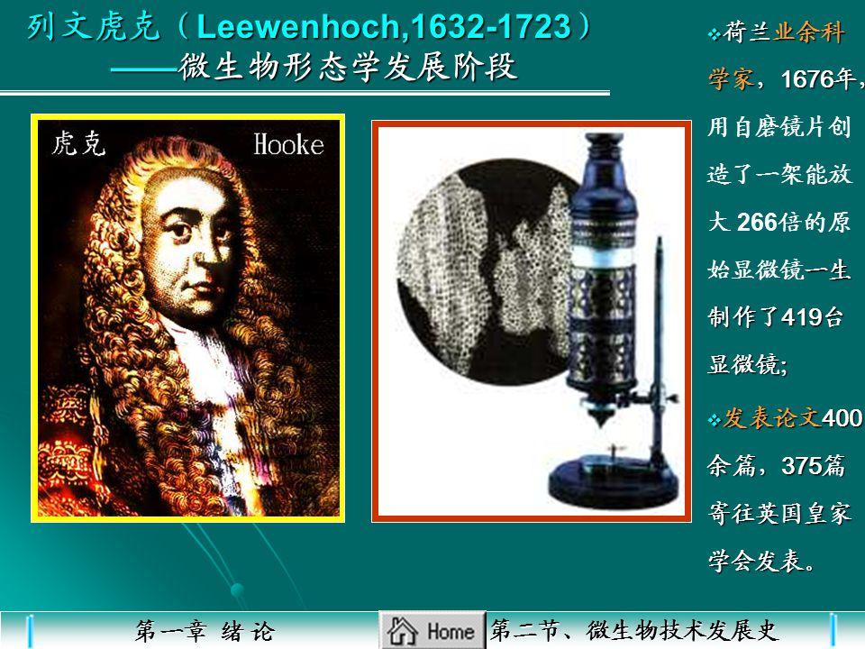 1676 年 列文虎克 ( Leewenhoch ) 列文虎克 ( Leewenhoch ) 列文虎克 ( Leewenhoch ) 1836—1837 年 Larkutzing Larkutzing 1856—1857 年 Pasteur Pasteur 1870 年 Pasteur Pasteu