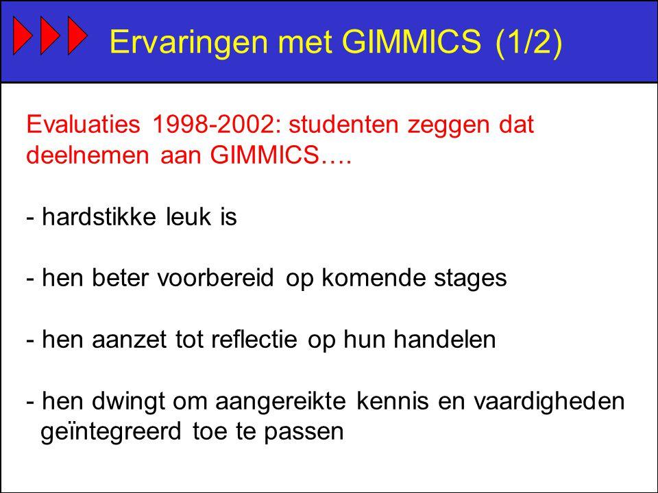 Ervaringen met GIMMICS (1/2) Evaluaties 1998-2002: studenten zeggen dat deelnemen aan GIMMICS….