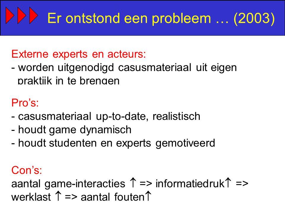 Er ontstond een probleem … (2003) Externe experts en acteurs: - worden uitgenodigd casusmateriaal uit eigen praktijk in te brengen Pro's: - casusmateriaal up-to-date, realistisch - houdt game dynamisch - houdt studenten en experts gemotiveerd Con's: aantal game-interacties  => informatiedruk  => werklast  => aantal fouten 