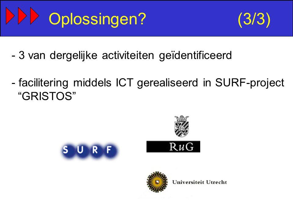 Oplossingen (3/3) - 3 van dergelijke activiteiten geïdentificeerd - facilitering middels ICT gerealiseerd in SURF-project GRISTOS