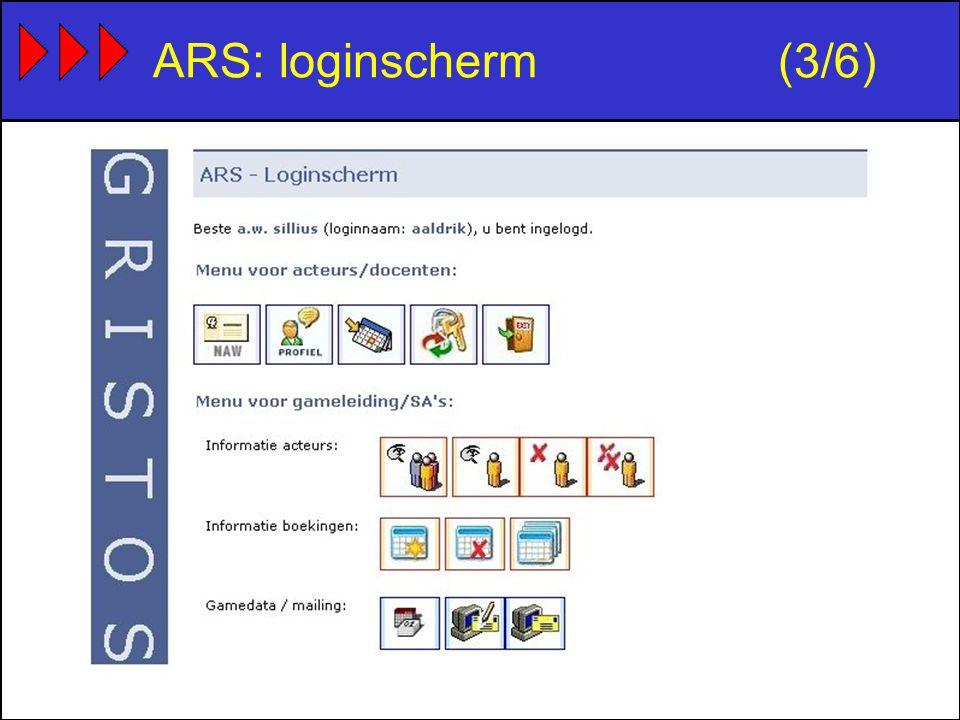 ARS: loginscherm(3/6)
