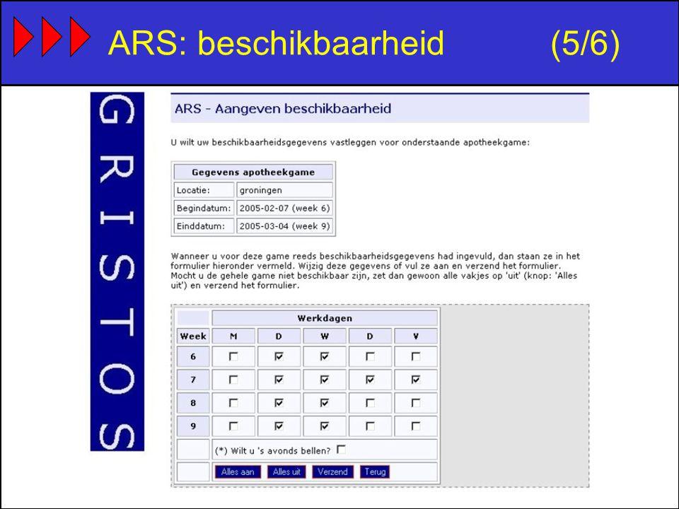 ARS: beschikbaarheid(5/6)