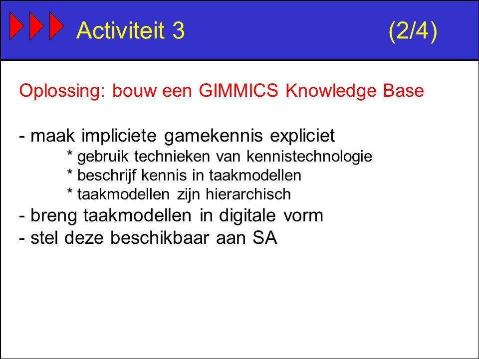 Activiteit 3(2/4) Oplossing: bouw een GIMMICS Knowledge Base - maak impliciete gamekennis expliciet * gebruik technieken van kennistechnologie * beschrijf kennis in taakmodellen * taakmodellen zijn hierarchisch - breng taakmodellen in digitale vorm - stel deze beschikbaar aan SA