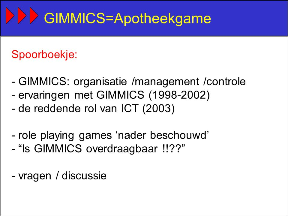 GIMMICS=Apotheekgame Spoorboekje: - GIMMICS: organisatie /management /controle - ervaringen met GIMMICS (1998-2002) - de reddende rol van ICT (2003) - role playing games 'nader beschouwd' - Is GIMMICS overdraagbaar !! - vragen / discussie