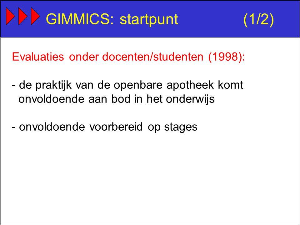 GIMMICS: startpunt(1/2) Evaluaties onder docenten/studenten (1998): - de praktijk van de openbare apotheek komt onvoldoende aan bod in het onderwijs - onvoldoende voorbereid op stages