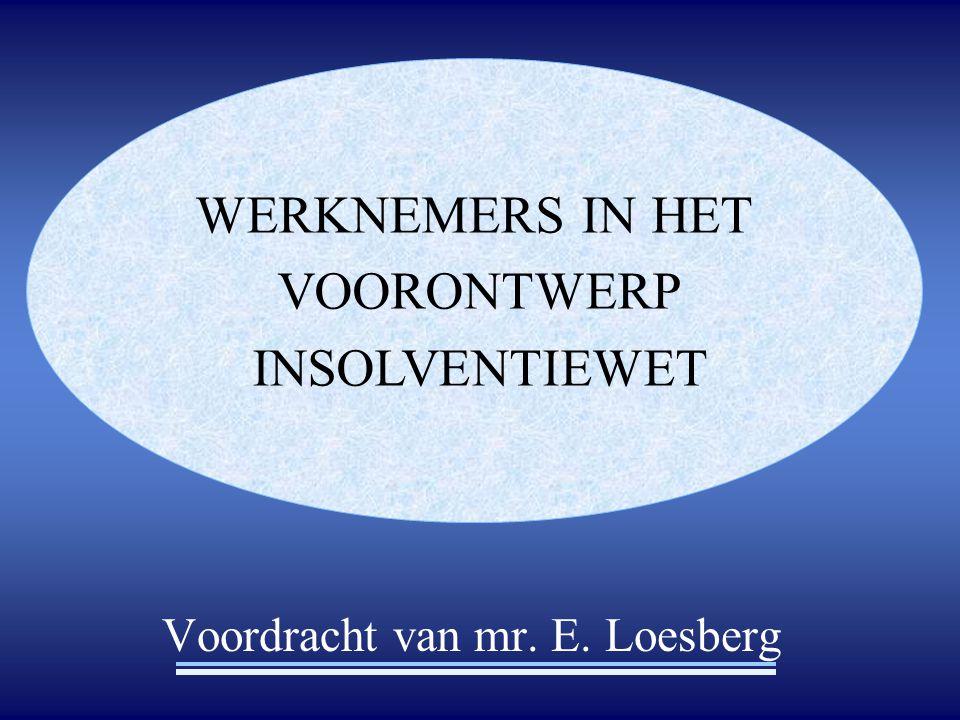 Voordracht van mr. E. Loesberg WERKNEMERS IN HET VOORONTWERP INSOLVENTIEWET
