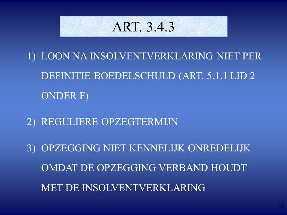 11 ART. 3.4.3 1)LOON NA INSOLVENTVERKLARING NIET PER DEFINITIE BOEDELSCHULD (ART.