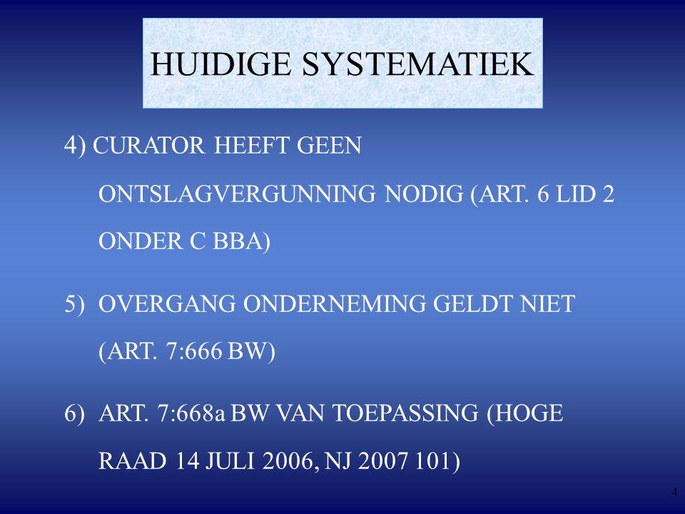 4 HUIDIGE SYSTEMATIEK 4) CURATOR HEEFT GEEN ONTSLAGVERGUNNING NODIG (ART.
